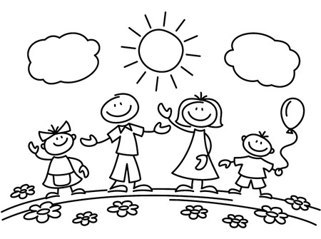 Hand drawn stick figure happy family. Drawing sketch family parents with children. Vector illustration