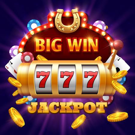Gran victoria 777 lotería vector concepto de casino con máquina tragaperras. Win jackpot en juego ilustración de la máquina tragaperras