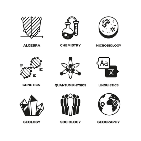 Science vector pictograms. Genetics and algebra, chemistry and biology, geography and sociology, linguistics and quantum physics symbols. Mathematics and globe, studying physics and geography illustration Stock Vector - 83096389