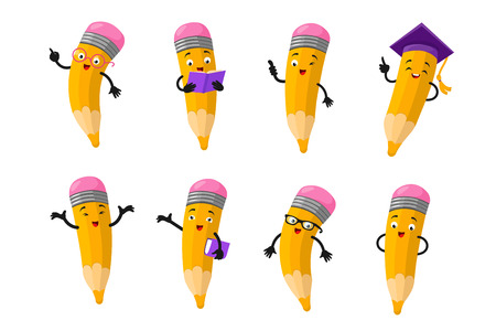 Cartoon clever pencil character vector set. Character happy pencil with face. Vector illustration
