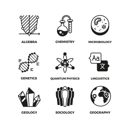 Science Vector Pictograms Genetics And Algebra Chemistry And
