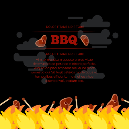 BBQ party poster design with fire and meat. Barbecue design banner. Vector illustration Illustration