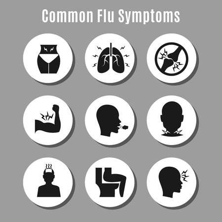 influenza: Flu influenza sickness symptoms icons on circles. Vector flat illustration