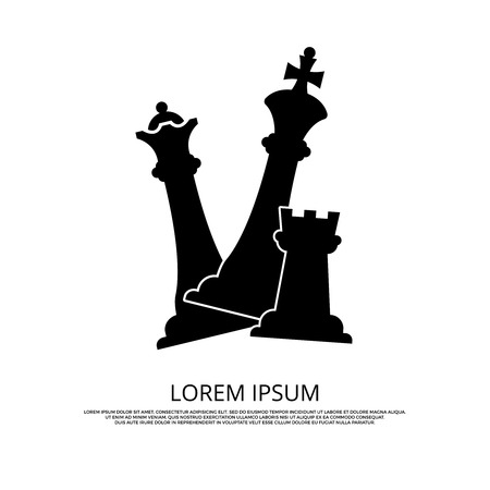 chessman: Black chess pieces icon - background with chess. Mind game strategy, vector illustration