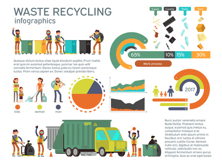 Waste management and garbage collection for recycling vector infographic. Recycling waste and garbage, recycling waste illustration Illustration