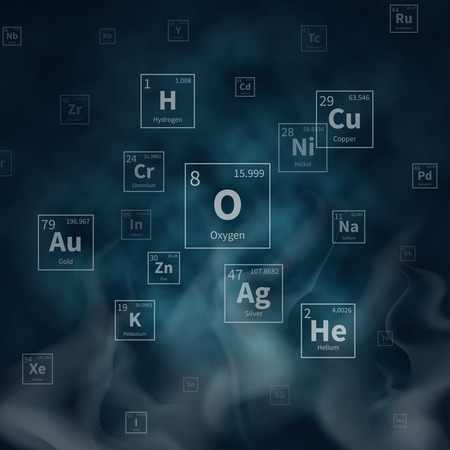 Scientific vector background with chemical elements symbols and white smoke. Scientific chemistry molecular atomic helium and copper, oxygen and hydrogen, gold and silver illustration