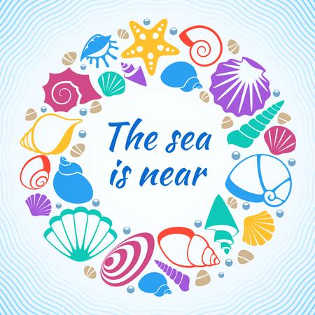 Tropical resort aquatic vector concept with sea shells on beach. Shell and starfish, marine souvenir design illustration