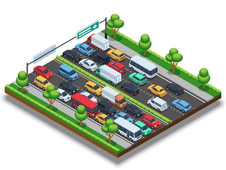 Autoroute isométrique avec embouteillage. Concept de vecteur de transport 3D avec des voitures et des camions. Vecteurs