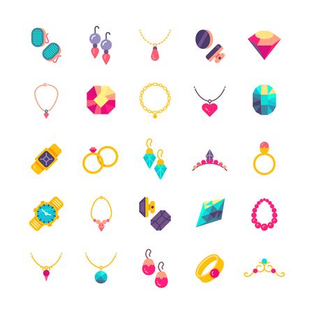 Luxe sieraden platte vector iconen. Diamant luxe en sieraden parel illustratie Stock Illustratie