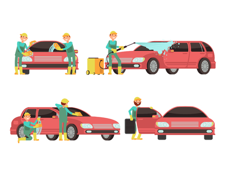 Washing car services vector concepts with cars and cleaners. Cleaner wash car with foam and soap illustration Illustration
