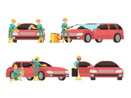 Wassende auto diensten vectorconcepten met auto's en reinigingsmachines. Schonere wasauto met schuim en zeepillustratie