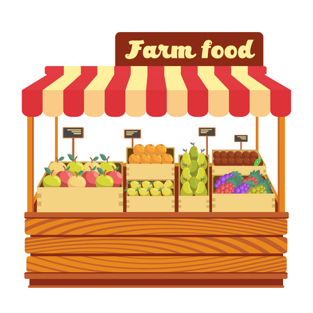 plant stand: Market wood stand with farm food and vegetables in box vector illustration. Wood market stand with fresh organic fruits