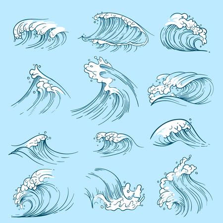 Croquis des vagues de l'océan. Marées de vecteur marin dessinés à la main. Illustration de l'eau de la vague de tempête