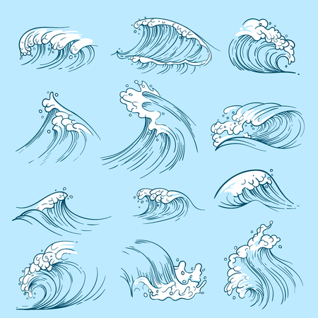 Sketch ocean waves. Hand drawn marine vector tides. Wave water storm sea illustration