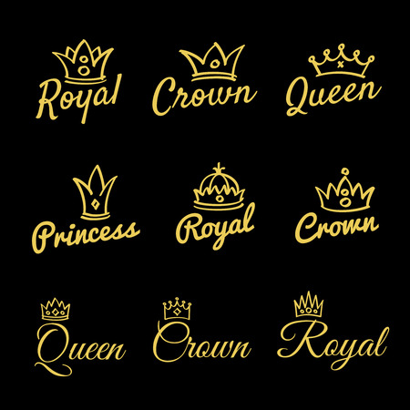 Sketch queen crowns and hand drawn princess diadem  beauty and fashion shopping  set. Princess and crown, king and queen fashionable.