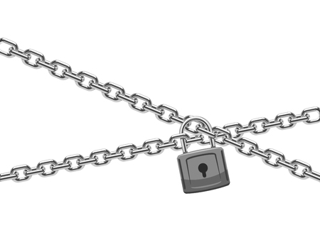 Padlock and steel chain. Finance security and computer safety vector concept. Chain steel with padlock illustration