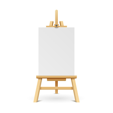 Wooden paint board with white empty paper frame. Art easel stand with canvas vector illustration. White blank board on wooden tripod