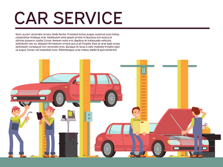 master: Automobile service and vehicle check vector background with car and mechanics in uniform. Repair car in service garage illustration