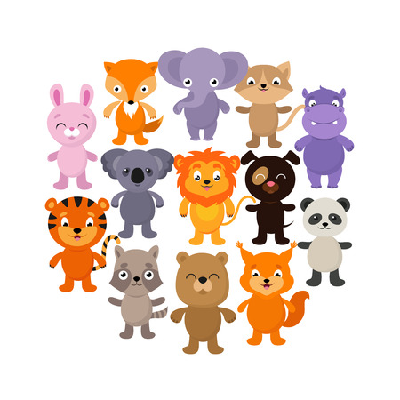 Forest, savana and jungle baby animals. Cartoon vector character set. Young happy character animals illustration Ilustrace