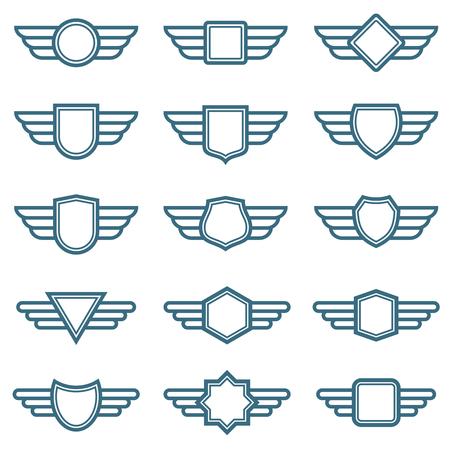 Eagle-Flügelarmeevektorabzeichen. Etiketten für die Luftfahrtflügel. Winged Pilot Embleme. Beschriften Sie und Insignienmilitärillustration Vektorgrafik