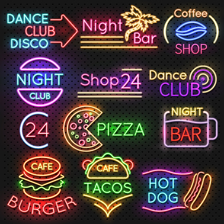 Bright roadside neon signs. Fast food and beer pub light vector icons. Hot dog and burger, tacos and pizza, vector illustration