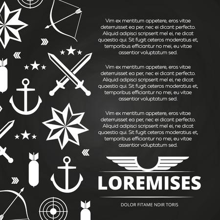 Blackboard poster design with swords, anchor, arrow for army or navy. Vector illustration Vektorové ilustrace