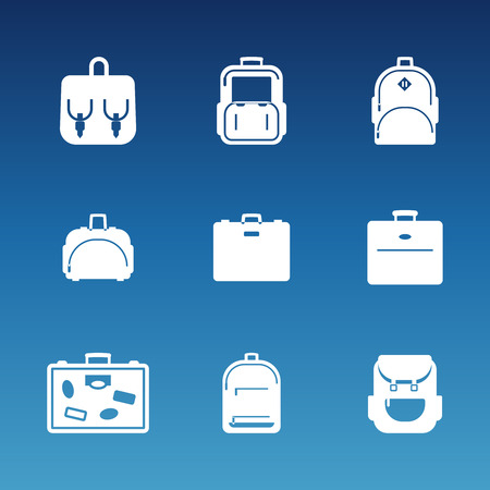 case: White flat travel bag icons set. Luggage and handbag, backpack vector illustration