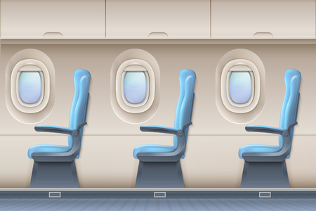 Passenger airplane interior. Aircraft indoor with comfortable chairs and portholes. Interior of aircraft and airplane illustration Illustration