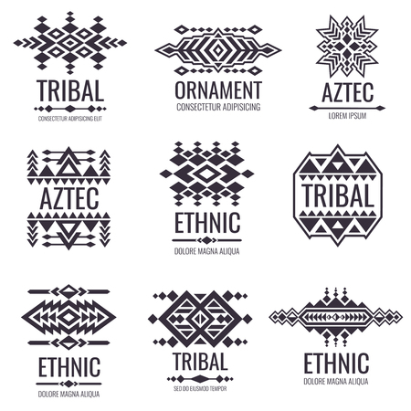 Mexican Aztec Symbols Vintage Tribal Vector Ornaments Illustration