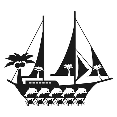 Black and white sea travel concept with ship, crabs, palm tree and dolphins. Vector illustration Illustration