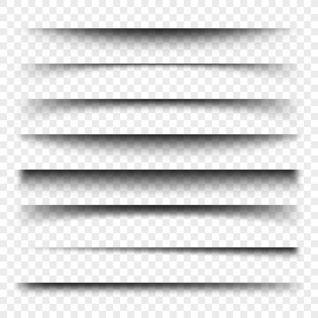 Divisor de página con sombras transparentes aisladas. Conjunto de vectores de separación de páginas. Ilustración realista de sombra transparente