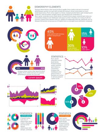 Mensen bevolking vector infographics met zakelijke grafieken, diagrammen en man vrouw pictogrammen. Wereldwijd economisch concept. Mensen bevolking en demografie grafiek visualisatie illustratie Vector Illustratie