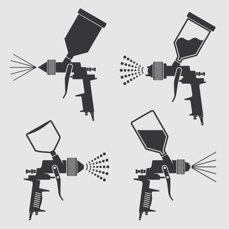 Auto corpo de pintura industrial pistola de pulverização vetorial ícones. Pulverizador de pintura automática, ilustração da arma do equipamento de aerógrafo Foto de archivo - 84740678