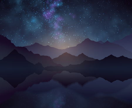 Nature night vector background with starry sky, mountains and water surface. Landscape and mountain with cosmos starlight sky illustration Ilustração