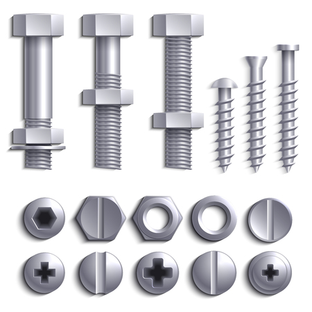 Metal screws, steel bolts, nuts, nails and rivets isolated on white vector set. Construction steel screw and nut, rivet and bolt metal illustration Çizim