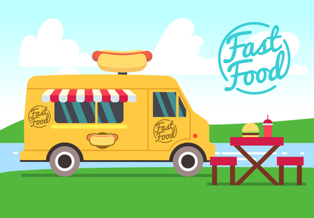 Outdoor cafe with food truck and tables. Street food small business vector concept. Fast food truck with table and chair illustration Illustration