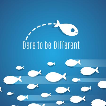 あえて小魚グループと異なる成功ソリューション ベクトル概念であるため。個人のリーダーシップ、独創的で大胆不敵なのイラスト