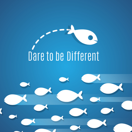 enterprising: Dare to be different success solution vector concept with small fishes group. Illustration of individual leadership, inventive and fearless Illustration