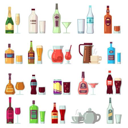 Alcoholische dranken en frisdranken. Dranken in glas en flessen platte vector iconen. Cocktail en alcoholfles, koffie en drankdrankillustratie Stock Illustratie