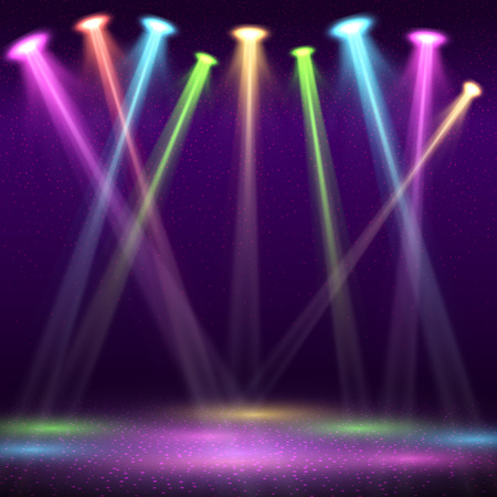 El interior moderno del club nocturno con la etapa vacía de la demostración y el punto del color enciende el ejemplo del vector. Interior del club nocturno, club nocturno con viga.