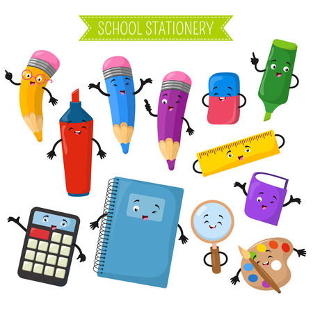 Cartoon 3d vector characters of school writing stationery. Calculator and notebook, marker cartoon character with face illustration