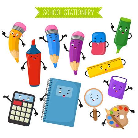 Personajes de dibujos animados vector 3D de papelería de escritura escolar. Calculadora y cuaderno, personaje de dibujos animados marcador con cara ilustración