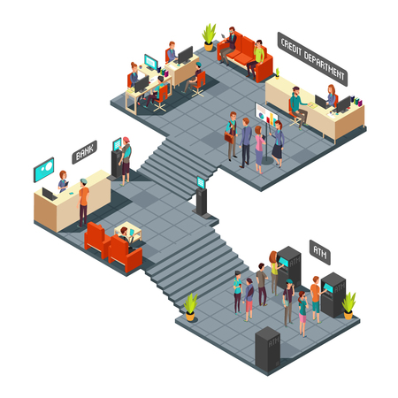 waiting room: Commercial bank office 3d isometric interior with business people inside. Banking and finance vector concept. Finance bank room with atm illustration Illustration