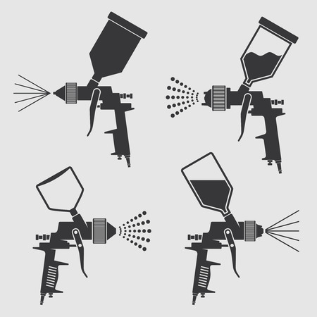 Auto-corps, peinture industrielle, pulvérisateur, vecteur, icône. Peinture à peinture automatique, illustration d'arme de l'équipement d'aérographe Banque d'images - 84743372
