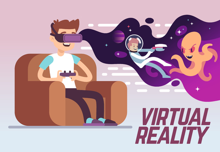Boy with headset playing virtual 3d reality simulation game. Digital entertainment vector concept. Innovation play device, illustration of vr cyberspace