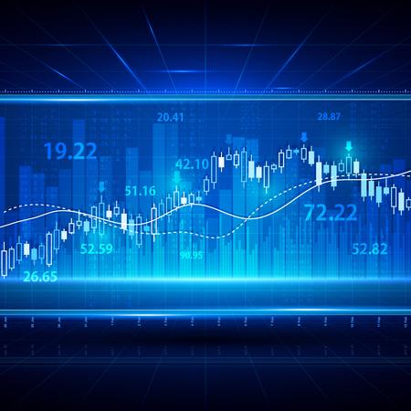 Fondo abstracto financiero y de negocios con gráfico de vela palo gráfico. Concepto de vector de inversión bursátil. Ilustración de gráfico y tabla de intercambio de bolsa de inversión de finanzas