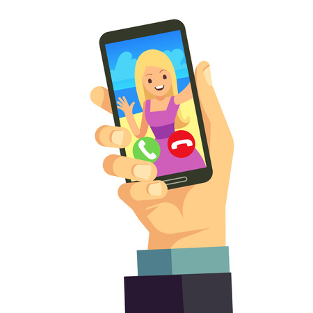 Video call with young happy woman using smartphone. Online mobile conference . Mobile online video call illustration