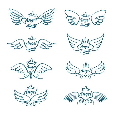 Elegant angel flying wings. Hand drawn wing tattoo vector design collection. Angel wing line, illustration of freedom tattoo sketch hand drawn Çizim