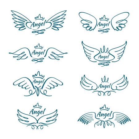 Elegante engel vliegende vleugels. Hand getrokken wing tattoo vector design collectie. Angel wing line, illustratie van vrijheid tattoo schets hand getrokken