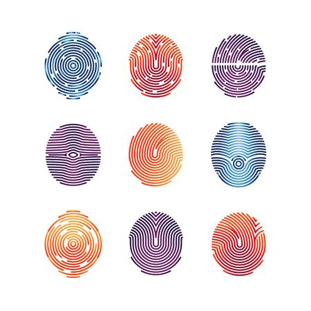 fingermark: Colorful fingerprints icons - biometric info. biometric fingermark illustration flat
